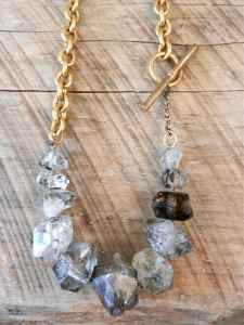 Herkimer Diamond and Vintage Chain 2